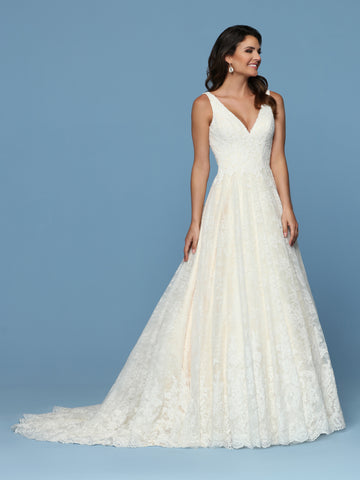 Davinci Bridal 50570 is an All over Lace A Line Ballgown Wedding Dress. Featuring a V Neckline with straps leading to an open back with a long line corset lace up closer. Full lace edged train in the back of the full skirt.  Available for 1-2 Week Delivery!!!  Available Sizes: 2,4,6,8,10,12,14,16,18,20  Available Colors: Ivory/Champagne, Ivory/Ivory