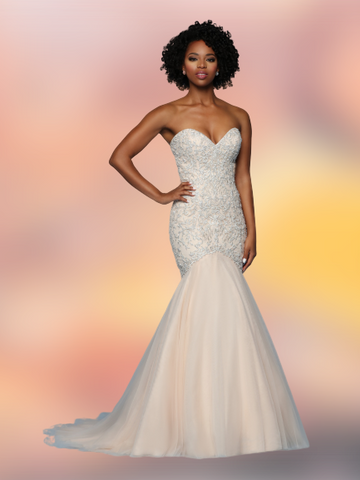Davinci Bridal 50573 Strapless Mermaid Fit Flare Wedding Dress Sweetheart Tulle Beaded