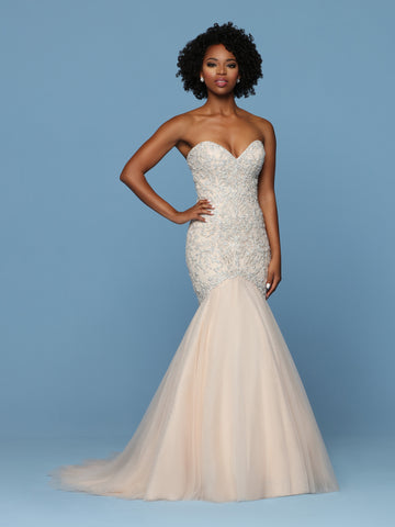 Davinci Bridal 50573 Two-Tone Beaded Embroidery & Tulle Mermaid Wedding Dress features a Fitted Beaded Bodice with Strapless Sweetheart Neckline, Open Back & Corset. Full Gathered Tulle Mermaid Skirt finishes with a Chapel Train.  Available for 1-2 Week Delivery!!!  Available Sizes: 2,4,6,8,10,12,14,16,18,20  Available Colors: Blush/Silver, Ivory/Silver  Fabric: Beaded Embroidery, Tulle  Neckline: Strapless, Sweetheart  Silhouette: Fit And Flare, Mermaid, Sheath  Details: Back Interest, Beading, Chapel Trai