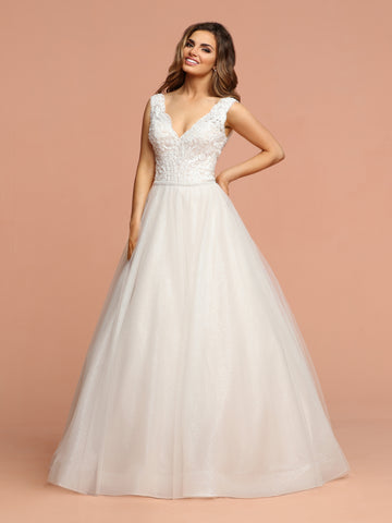 Davinci Bridal 50589 is a Gorgeous Glitter Shimmer Tulle Ballgown Wedding Dress. Featuring a beautiful eyelash lace embellished bodice with a V neckline and open V back. The full tulle skirt shimmers with a full train.  Available for 1-2 Week Delivery!!!  Available Sizes: 2,4,6,8,10,12,14,16,18,20  Available Colors: Ivory/Blush, Ivory/Ivory