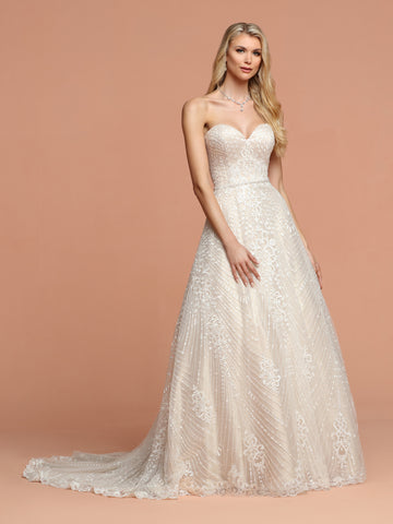 Davinci Bridal 50593 is a Long All over Lace Ballgown Wedding Dress. Featuring a sweetheart strapless neckline and a beautiful train. Corset Back. Embellished Crystal waist belt.  Available for 1-2 Week Delivery!!!  Available Sizes: 2,4,6,8,10,12,14,16,18,20  Available Colors: Ivory/Nude, Ivory/Ivory
