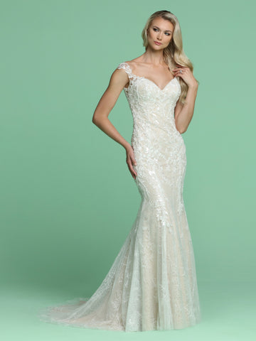 Davinci Bridal 50602 Size 6 Mermaid Floral Lace Wedding Dress Sheer Button Sequin