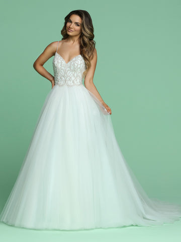 Davinci Bridal 50603 is a stunning Lush A Line Wedding Dress Featuring an Embellished V neckline with spaghetti straps leading to an open back. Lush Layers of Tulle in the Ballgown skirt flow into a sweeping train.   Available for 1-2 Week Delivery!!!  Available Sizes: 2,4,6,8,10,12,14,16,18,20  Available Colors: Ivory/Blue, Ivory/Ivory