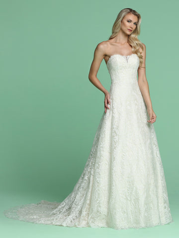 Davinci Bridal 50609 is a beautiful all over lace A Line wedding Dress. This Strapless gown features an illusion sheer sweetheart neckline. Fitted bodice flowing into an a line ballgown with a scallop lace hem. Long Line Lace Up Corset Back. Stunning sweeping train.   Available for 1-2 Week Delivery!!!  Available Sizes: 2,4,6,8,10,12,14,16,18,20  Available Colors: Ivory/Champagne, Ivory/Ivory