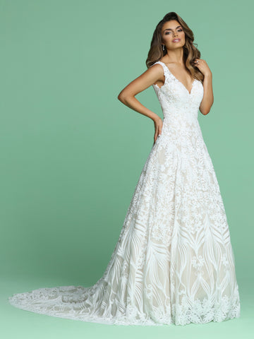 Davinci Bridal 50613 is a stunning long A Line Sequin Pattern Wedding Dress. Featuring a V Neckline with wide straps leading around to an open V back. This Shimmering gown is a true Fairytale Princess Gown!  Available for 1-2 Week Delivery!!!  Available Sizes: 2,4,6,8,10,12,14,16,18,20  Available Colors: Ivory/Blush, Ivory/Ivory  Available Sizes: 2-30  Available Colors: Ivory/Blush, Ivory/Ivory, White/White
