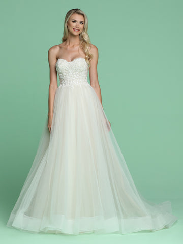 Davinci Bridal 50614 is a long Soft Tulle A Line ballgown with a strapless floral beaded applique bodice. Horse hair trim on the layers of lush tulle the skirt leading into a sweeping train.   Available for 1-2 Week Delivery!!!  Available Sizes: 2,4,6,8,10,12,14,16,18,20  Available Colors: Ivory/Ivory, Ivory/Nude