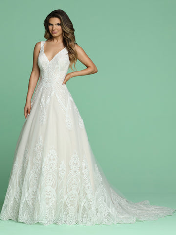 Davinci Bridal 50616 is a stunning A Line Ballgown with embroidered lace appliques embellished with petite sequins. Scallop Edge V Neckline with a sheer illusion scallop edge V back. Stunning Embellished lace appliques along the hem and stunning sweeping train. Great full coverage wedding dress for plus size!  Available for 1-2 Week Delivery!!!  Available Sizes: 2,4,6,8,10,12,14,16,18,20  Available Colors: Ivory/Blush, Ivory/Ivory