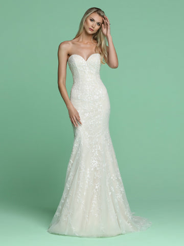 Davinci Bridal 50617 Long stunning Embroidered Tulle Fit & Flare wedding dress. Featuring a strapless sweetheart neckline with a sheer back. Buttons line the back of the gown. flowing into a sweeping train.   Available for 1-2 Week Delivery!!!  Available Sizes: 2,4,6,8,10,12,14,16,18,20  Available Colors: Ivory/Blush, Ivory/Ivory  Available Sizes: 2-30  Available Colors: Ivory/Blush, Ivory/Ivory, White/White