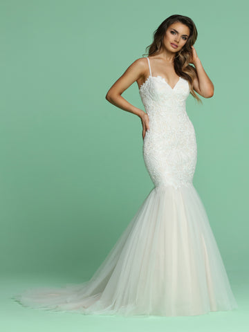 Davinci Bridal 50621 is a stunning sequin Embellished Embroidered Lace Fit & Flare Mermaid Wedding Dress. Featuring a soft Tulle Trumpet Skirt with a lush sweeping train. Lace up corset back.  Available for 1-2 Week Delivery!!!  Available Sizes: 2,4,6,8,10,12,14,16,18,20  Available Colors: Ivory/Blush, Ivory/Ivory  Available Sizes: 2-30  Available Colors: Ivory/Blush, Ivory/Ivory, White/White