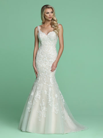 Davinci Bridal 50624 is a long Embroidered Lace Fit & Flare Mermaid Wedding Dress. Featuring an open V Back. Fitted Bodice with a trumpet skirt leading into a sweeping train,  Available for 1-2 Week Delivery!!!  Available Sizes: 2,4,6,8,10,12,14,16,18,20  Available Colors: Ivory/Ivory, Ivory/Nude
