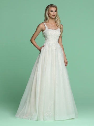 Davinci Bridal 50628 is a Beautiful Long Shimmering wedding dress. Featuring a Fitted bodice with embroidered lace cascading into a stunning Glitter shimmer tulle A line ball gown skirt with pockets and a lush train. Straps with embroidered lace cascading over. Available for 1-2 Week Delivery!!!  Available Sizes: 2,4,6,8,10,12,14,16,18,20  Available Colors: Ivory/Blush, Ivory/Ivory
