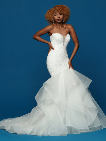Davinci Bridal 50653  This is a fitted lace fit and flare wedding dress with a plunging neckline and illusion panel.  Spaghetti straps are optional.  This bridal gown has a full layered ruffle skirt with a long train.  The ruffles and trimmed in horsehair for added fullness.   Color Ivory, White  Sizes 2-20