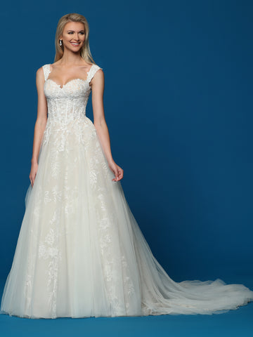 Davinci Bridal 50487 is a sweetheart neckline ballgown wedding dress Featuring an Embellished lace bodice cascading into the lush skirt with lace trailing down the A line skirt.  Available for 1-2 Week Delivery!!!