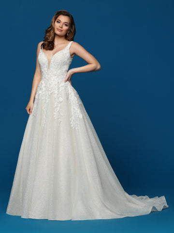 Davinci Bridal 50655 This is a sparkly lace and glittered tulle A line long wedding dress.  This bridal gown has a lace v neckline and a v back with a train.  Colors:  Ivory/Blush, Ivory/Ivory  Sizes  2-20