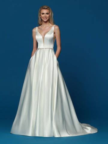 Davinci Bridal 50656 is a long satin A line wedding dress.  This bridal gown has a v neckline and an embellished waistline.  And it has Pockets! Colors:  Ivory  Sizes:  2-20