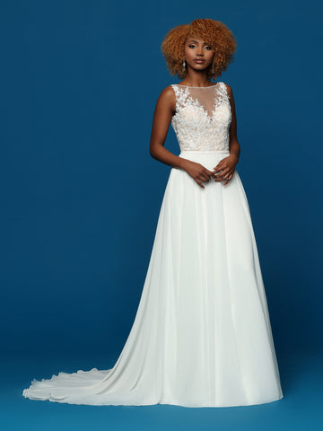 Davinci Bridal 50657 Lace and Chiffon wedding dress bridal gown.  This gown has a sheer high neckline embellished with lace. It has a scoop low back that is sheer lace and bridal buttons with a train.  Colors:  Ivory/ Ivory, Ivory/Nude  Sizes 2-20
