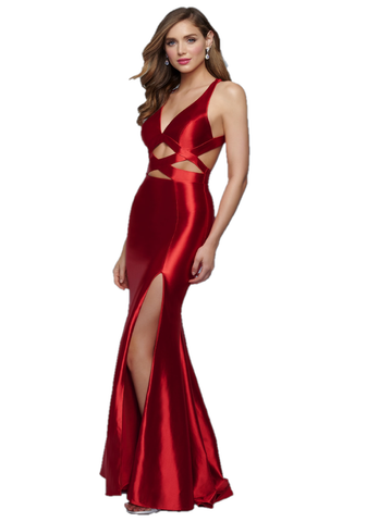 Splash Prom by Landa Designs K509 is a long fitted stretch satin formal evening gown. Featuring a v neckline with mid waist cutouts and an open cutout back. Flared skirt with a thigh slit. Great for Prom, Pageants, & almost any formal event! Available Sizes: 00,0,2,4,6,8,10,12,14,16  Available Colors: Red, Black