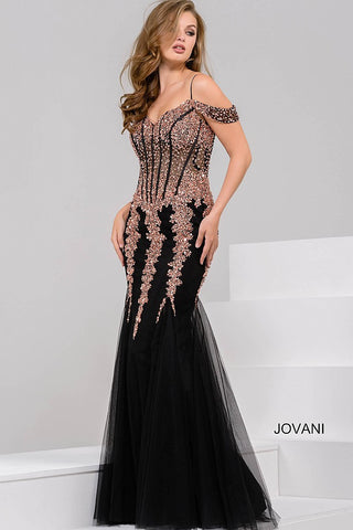 Jovani 51115 Off the shoulder sequin dress with tulle mermaid skirt Prom Dress 2020