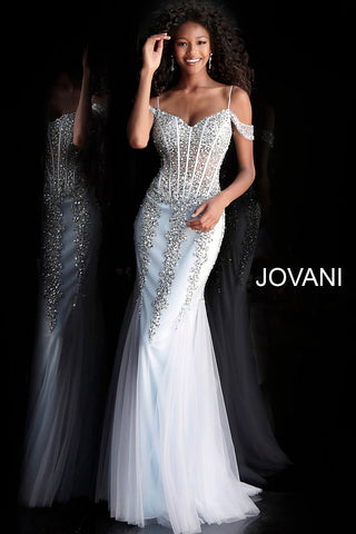 Jovani 51115 Off the shoulder sequin dress with tulle mermaid skirt Prom Gown 2020