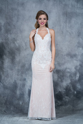 Nina Canacci 5116 long lace column prom dress with halter neckline in Ivory size 4