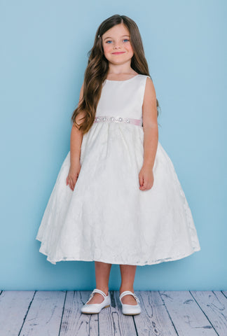 Rosebuds 5124 Tea Lngth satin & Lace Flower Girl Dress Crystal Ribbon Gown