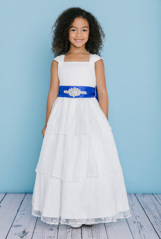 Rosebuds 5126 Long Lace Flower Girl Dress Cap Sleeve First Communion Gown