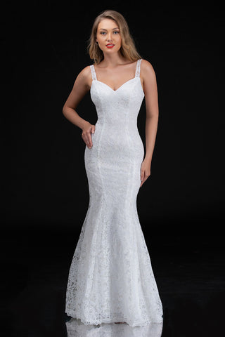 Nina Canacci 5142 is a long Fitted solid Embroidered Lace Mermaid Fit & Flare Silhouette formal evening gown. This wedding dress features a v neckline with sheer lace wide straps. Lush trumpet skirt with a scallop lace edge. Great for Plus Size! Metallic Shimmer Lace   Available Sizes: 4-24  Available Colors: Ivory, Navy, Silver