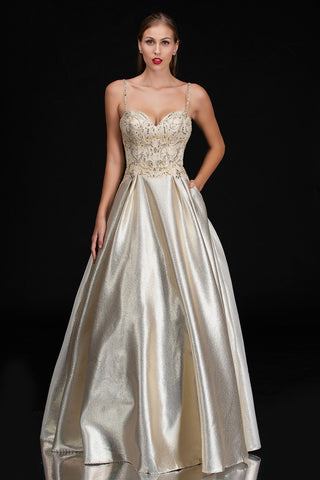Nina Canacci 5145 Gold Metallic Shimmer Ballgown Prom Dress Evening Gown Embellished