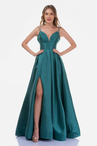 Nina Canacci 5153 Long V Neck Shimmer Maxi High Slit Prom Dress Formal Gown