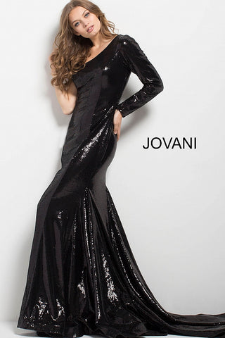 Jovani 51650 One Long Sleeve Sequin Long Dress With Train In Black