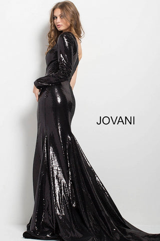4212646ab2a4 ... Jovani 51650 one long sleeve sequin long dress with train in Black ...
