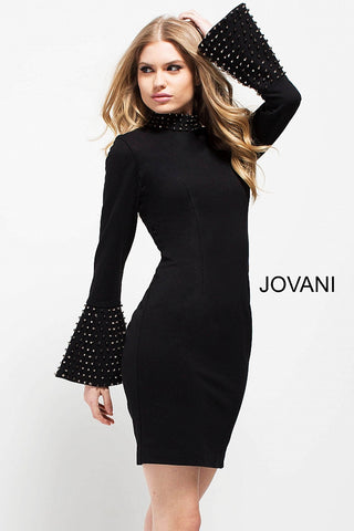 Jovani 51675 short fitted dress with embellished high collar neckline and embellished bell sleeves in Black
