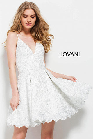 Jovani 51788 spaghetti straps short fit and flare dress in Off White/Silver
