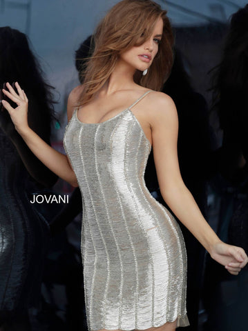 Jovani 1861 shimmer short fitted cocktail dress