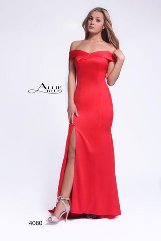 Allie Blu 4080 Red Size 2 off the shoulder Long prom dress Pageant Gown