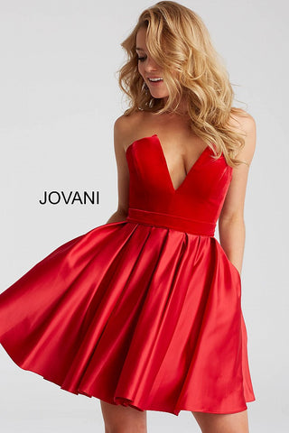 Jovani 52108 strapless deep v neckline velvet bodice fit and flare short dress in Red