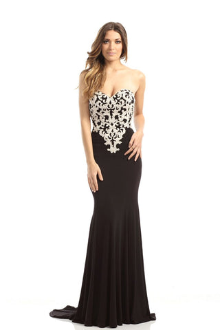 Johnathan Kayne style 541 long black prom dress pageant gown size 6