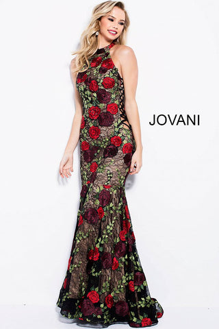 Jovani 54679 floral embroidered lace sides prom dress
