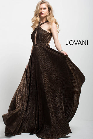 Jovani 54684 halter top metallic long pleated A line dress in Black/Gold