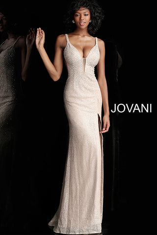 Jovani 54802 Champagne and Navy Sizes 00-24