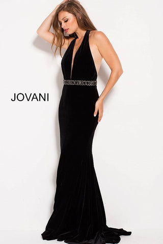 Jovani 54845 halter neckline fitted velvet prom dress