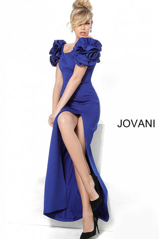 Jovani 54913 off shoulder ruffle sleeve gown in black, blush, deep royal, fuchsia, mint, navy, orange, white, yellow