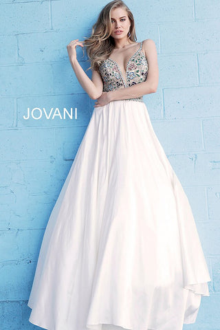 Jovani 54938  Embellished Bodice Plunging Neck A Line Evening Dress 54938