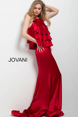 Jovani 55128 high neckline satin ruffle bodice long dress in Black or Red