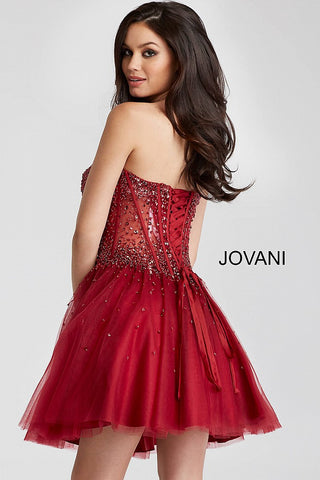Jovani 55142 sheer corset bodice short homecoming dress 2019 Crystal Illusion
