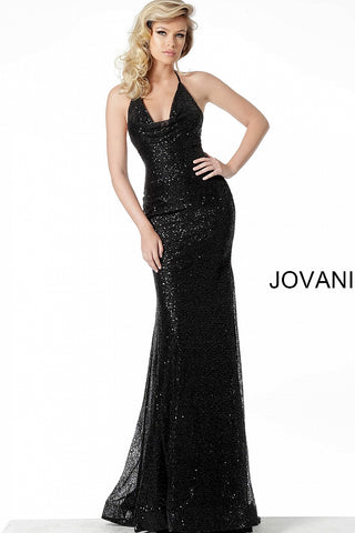 Jovani 55184 Black Sequin Fitted Evening Gown Cowl Neck Pageant Dress Prom 2020
