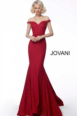 Jovani 55187 off the shoulder glitter waffle mermaid prom dress
