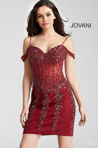2587e5321bf7 Jovani 55226 beaded off the shoulder corset bodice fitted short dress in  black gold