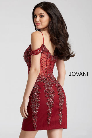 07fa970343c9 ... Jovani 55226 beaded off the shoulder corset bodice fitted short dress  in black gold