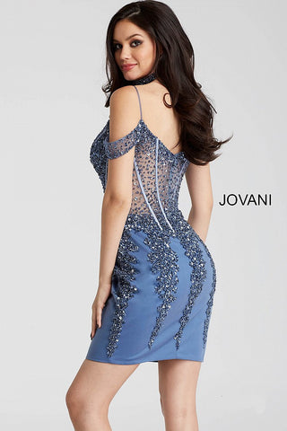 fa924ca871e2 ... Jovani 55226 beaded off the shoulder corset bodice fitted short dress  in black gold